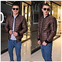 Демисезонная мужская короткая стеганая куртка р.48-54.  Арт-3902/26 коричневый
