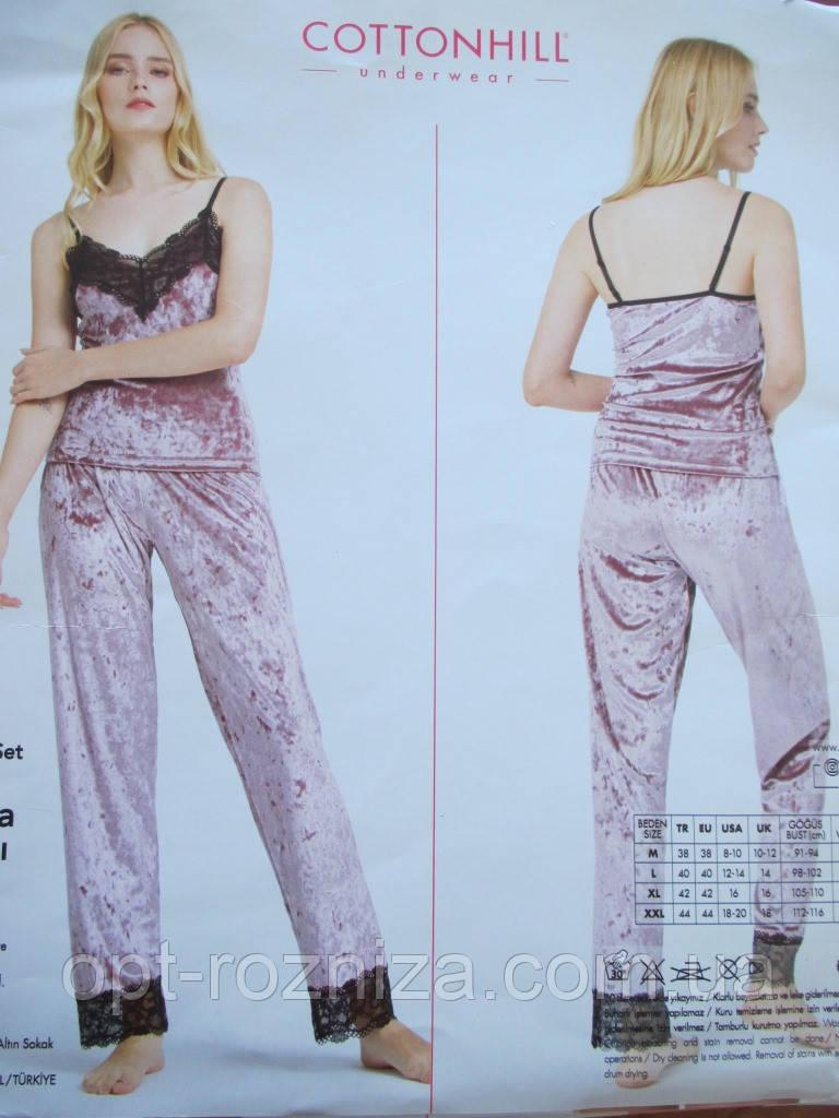 Велюрова піжама майка і штани для жінок
