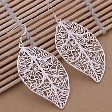Сережки жіночі у вигляді листочка покриття срібло, фото 2