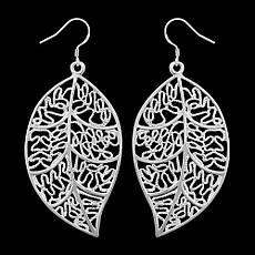 Серьги женские в виде листочка покрытие серебро, фото 3