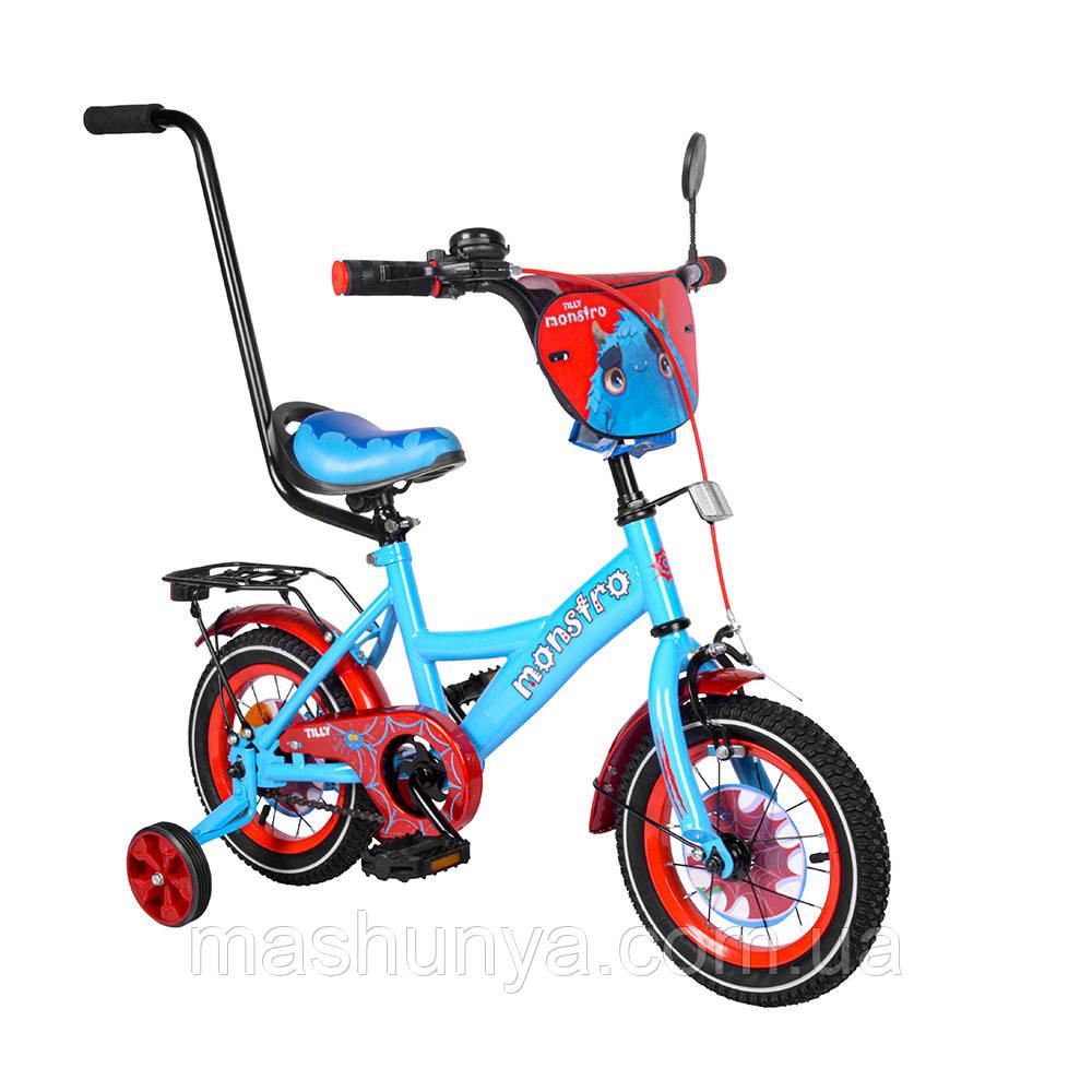 Велосипед детский двухколесный Tilly Monstro T-212211 12 дюймов с ручкой (2-4 года) Пром