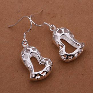 """Сережки жіночі серце """"Love you"""" покриття срібло, фото 2"""
