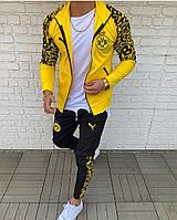 Жовто-чорний чоловічій футбольний спортивний костюм Борусія Мужской футбольный костюм жёлтый с чёрным Боруссия