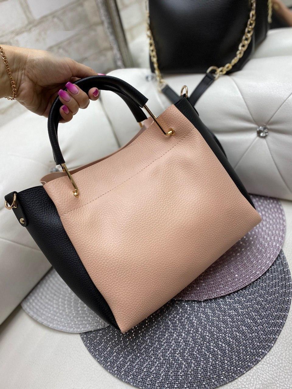 Велика жіноча сумка на плече з косметичкою стильна рожева кожзам
