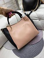 Велика жіноча сумка на плече з косметичкою стильна рожева кожзам, фото 1