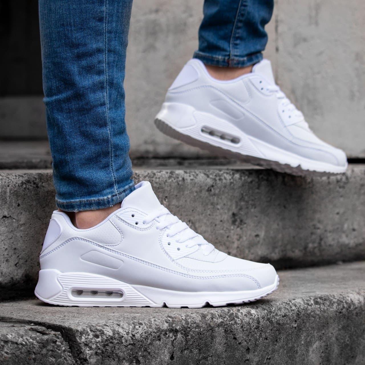 Мужские кроссовки белые в стиле Nk Air Max 90 обувь мужская демисезонная Размеры 40   41   42   43   44   45