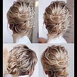 Свадебная шпилька серебро жемчужная веточка для волос белая украшение для волос невесты шпилька в причёску, фото 2
