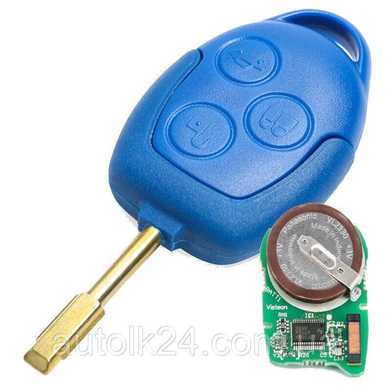 Оригинальный ключ Ford Transit 3 кнопки 433MHz чип 4D63 лезвие FO21