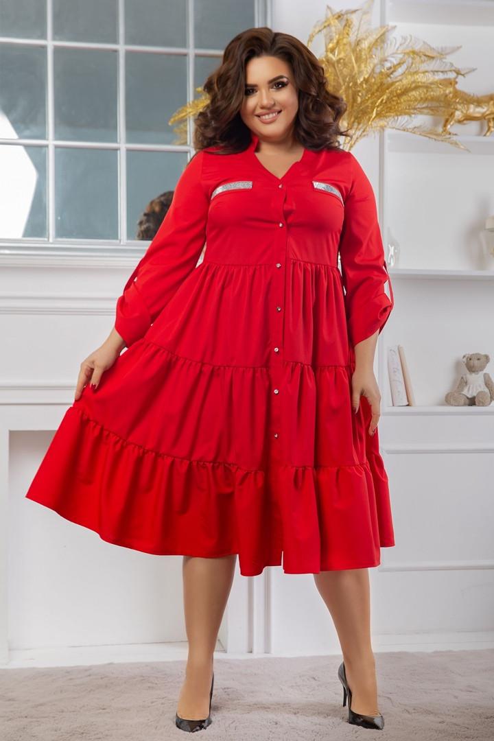 """Расклешенное ярусное платье-миди """"ЛОРА"""" с длинным рукавом (большие размеры)"""