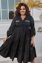 """Расклешенное ярусное платье-миди """"ЛОРА"""" с длинным рукавом (большие размеры), фото 2"""