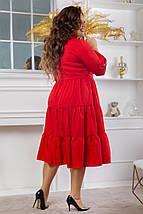 """Расклешенное ярусное платье-миди """"ЛОРА"""" с длинным рукавом (большие размеры), фото 3"""