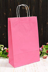 """Бумажный подарочный крафт пакет однотонный """"Розовый"""" 24*37*10см 10шт/уп (100шт/ящ)"""