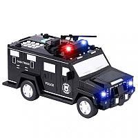 Игрушечный сейф копилка с купюроприемником для денег Полицейская машина NO.06688-19 черная   дитячий сейф (NS), фото 1