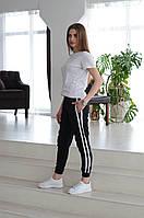 Женские спортивные штаны с лампасами на резинке Asos, турецкие стильные брюки, цвет черный