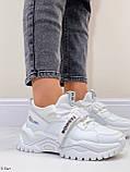 Жіночі кросівки білі текстиль+ еко шкіра весна/ літо/ осінь, фото 3