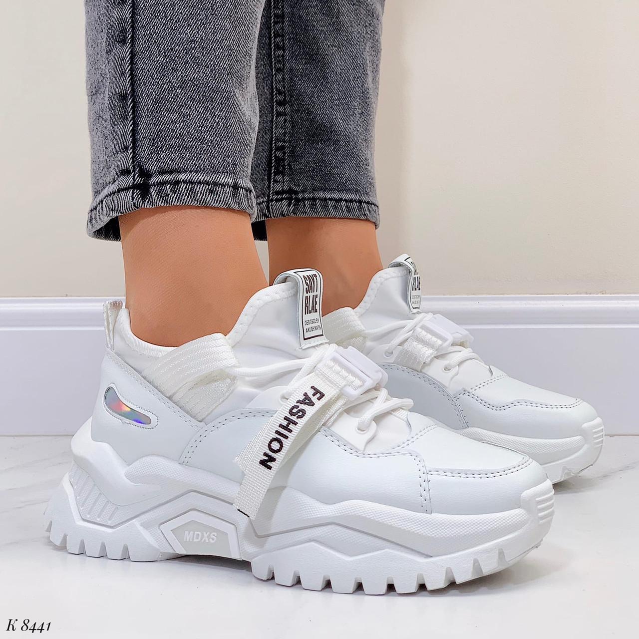 Жіночі кросівки білі текстиль+ еко шкіра весна/ літо/ осінь