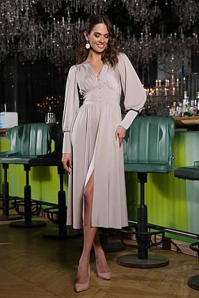 Шикарное атласное платье ниже колена струящееся размер S, M, L, XL, фото 2