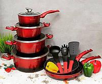 Набор кастрюль (казанов) с мраморным покрытием Edenberg EB-5612 Набор кухонной посуды 15 предметов Красный