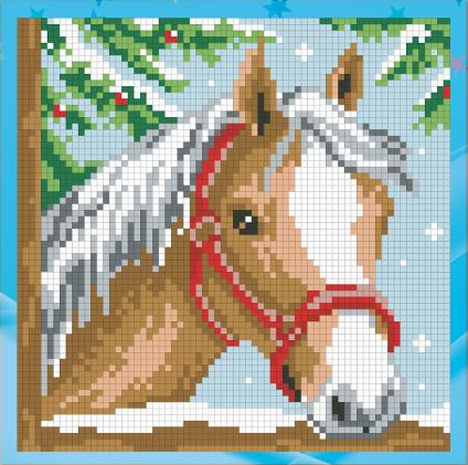 Алмазна мозаїка для дітей Кінь UA-001 18х18см Набір алмазної вишивки 13 кольорів, квадратні,