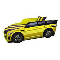 Детская кровать-машина Премиум Рендж Ровер Жёлтый матрас спойлер подушка Под. мех. Кровать машина для мальчика