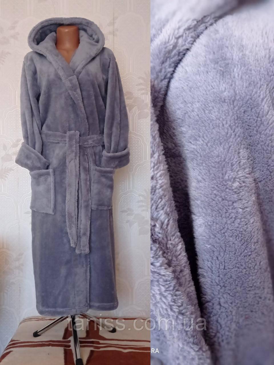 Жіночий теплий довгий халат, великого розміру, з капюшоном , р-р 46,48,50,52,54,56,58-60 різні кольори