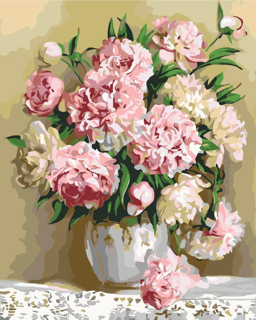 Картина рисование по номерам  Букет пионов GX8855 40х50см набор для росписи, краски, кисти холст
