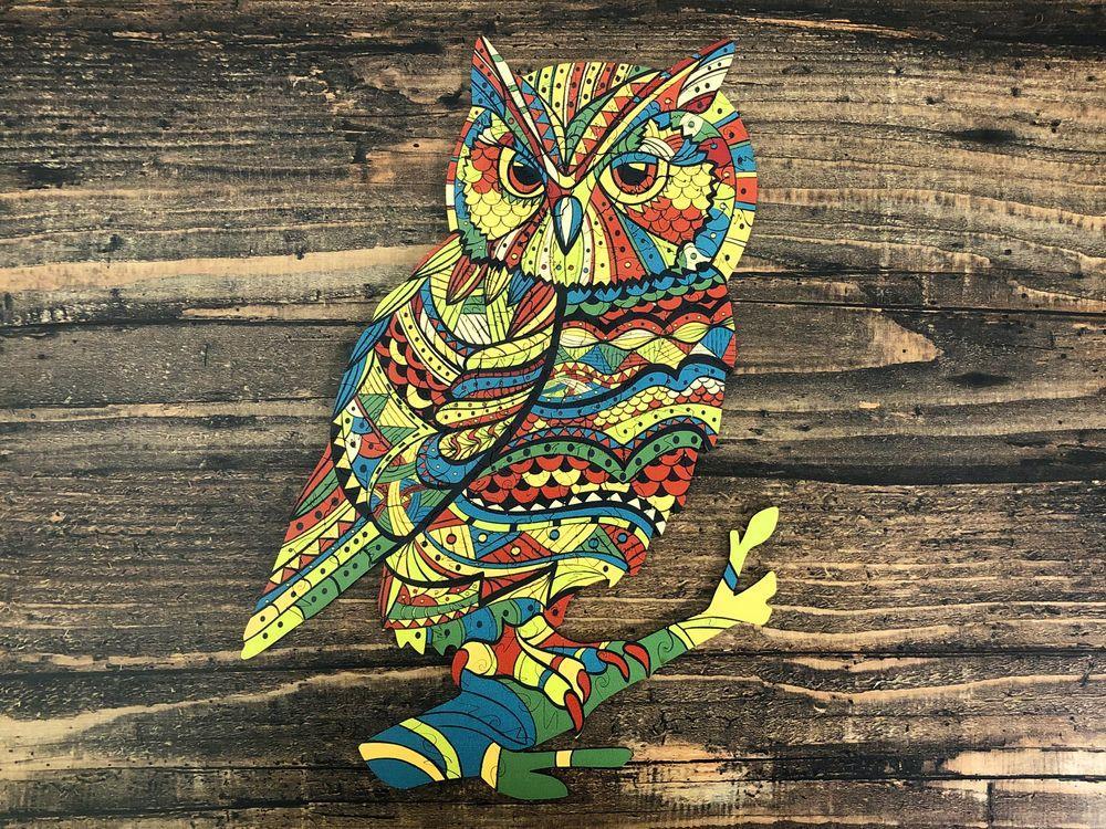 Деревянный пазл Золотая Сова. Фигурный пазл Goldy Owl.