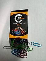 Скрепки цветные металлические 28 мм. 100 штук L1915 ТМ LEO 140134