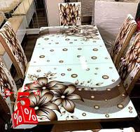 Обеденная группа Brof комплект кухонной мебели стол и 4 стула,каленное стекло с оригинальным декором для кухни