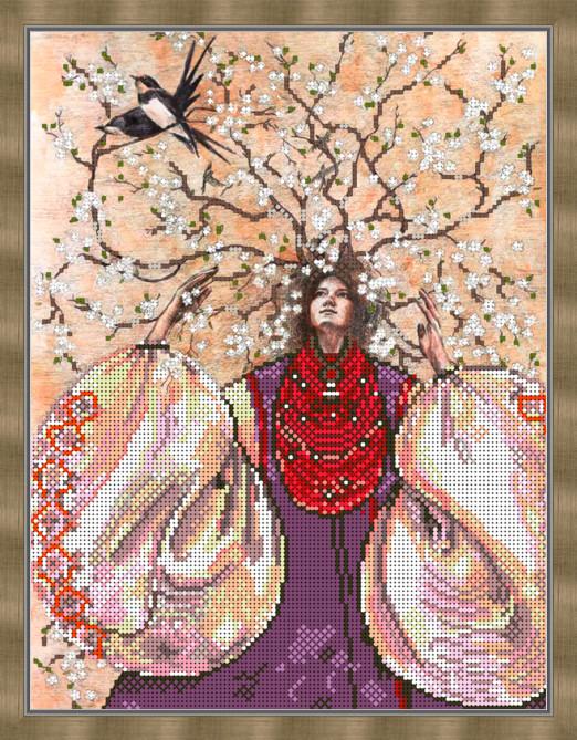 Вышивка бисером, Канва цветы времена года Весна