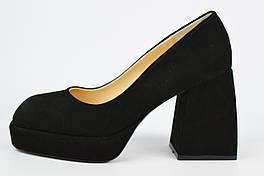 Туфли на расклешенном каблуке Evromoda 8013 39 Черные замша