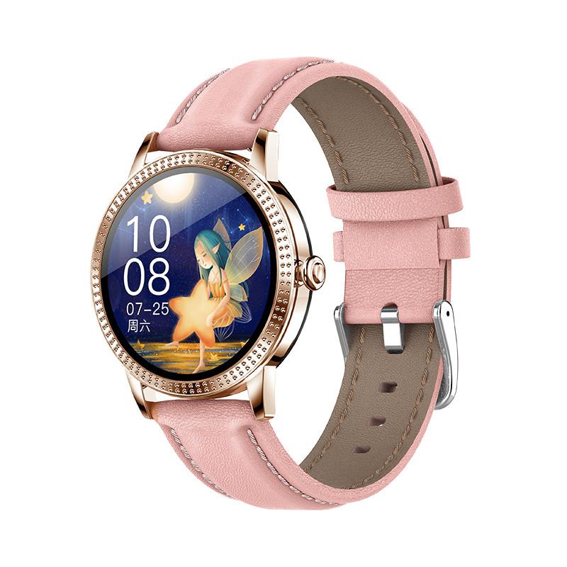 Розумні смарт годинник Lemfo CF18 Pro Leather з вимірюванням тиску і пульсу (Рожевий)