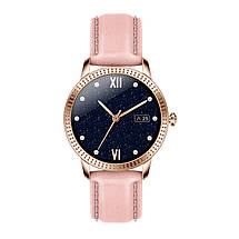 Розумні смарт годинник Lemfo CF18 Pro Leather з вимірюванням тиску і пульсу (Рожевий), фото 2