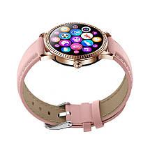 Розумні смарт годинник Lemfo CF18 Pro Leather з вимірюванням тиску і пульсу (Рожевий), фото 3