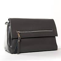 Сіра компактна сумка з натуральної шкіри через плече Alex Rai 9-02 83112 dark-grey, фото 1