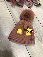 Утепленная шапочка с жирафиком  (размер 44-46)