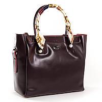 Бордовая вместительная сумка с украшением на ручке из натуральной кожи Alex Rai 9-02 8696-3 wine-red, фото 1