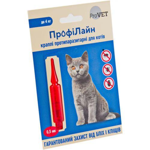 Капли на холку Профилайн для кошек до 4кг 1уп.(1 пипетка*0,5мл) (инсектоакарицид)