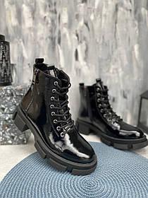 Ботинки черные из натуральной лаковой кожи размеры 36-41