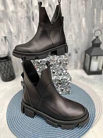 Интересные ботинки-асимметрия черные из натуральной кожи размеры 36-41