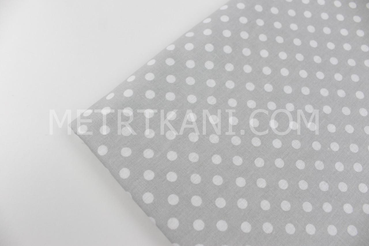 Лоскуток.  Постельная бязь, белый горох на сером  100*100 см