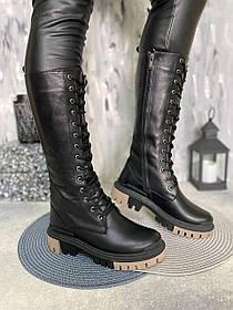 Высокие ботинки на шнурках берцы высокие женские из натуральной кожи размеры 36-41