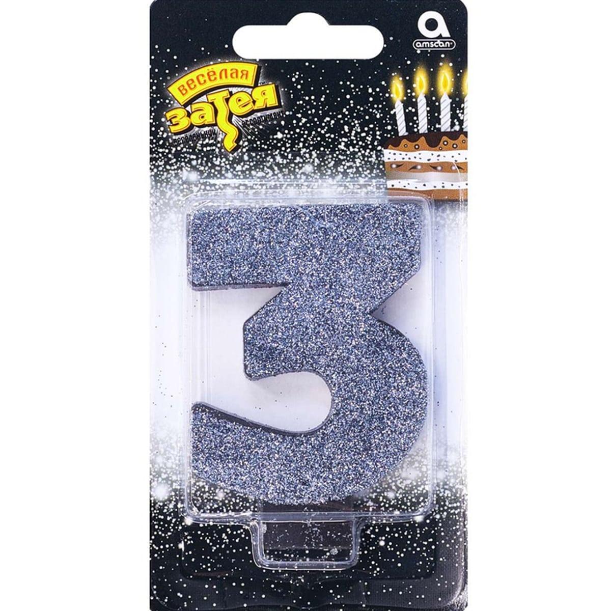 Свічка цифра з блискітками 3, чорний гліттер