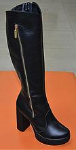 Сапоги женские на каблуке кожаные черные 131116
