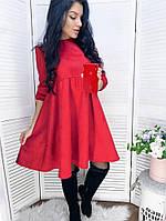 / Размер 42-44,46-48,50-52 / Женское платье из замши Cornelia / цвет красный