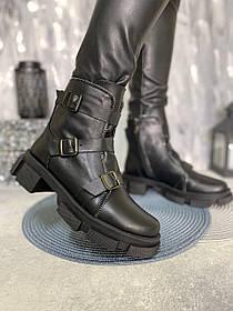 Ботинки с пряжками женские из натуральной кожи размеры 36-41