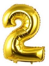 Кульки повітряні, фольговані, 32 дюймів, цифри, 2, золото