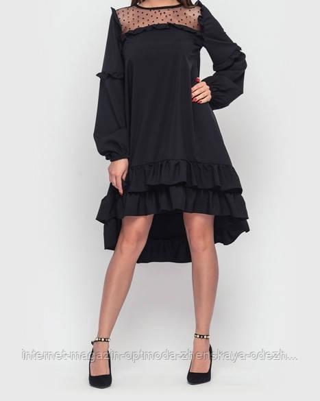 """Жіноче вільне плаття трапеція асиметричне з воланами """"Sandra"""""""