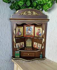 Домашній іконостас ручної роботи з натурального дерева від виробника (колір на вибір)