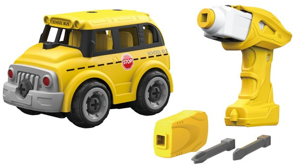 Игрушка-конструктор Школьный автобус с электродвигателем DIY SPATIAL CREATIVITY, 24 детали
